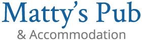 An image labelled Mattys Pub & Accommodation Logo